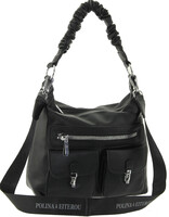 Сумка мешок с карманами черная Polina & Eiterou W 2561-1j